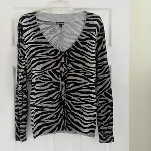 Express animal print v-neck sweater